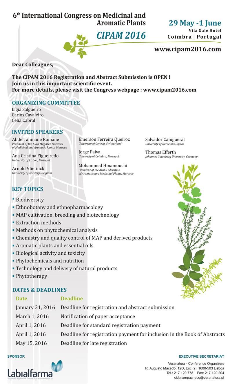 6th International Congress On Medicinal And Aromatic Plants CIPAM